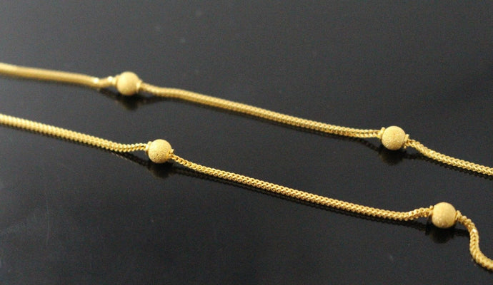 22k Chain Yellow Solid Gold Necklace Modern Ball Design 20 inch c712