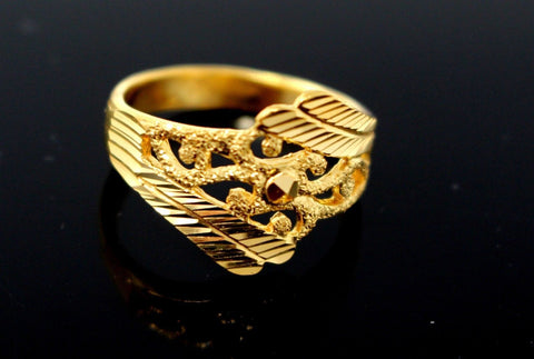 "22k Solid Gold ELEGANT DIAMOND CUT LADIES RING SIZE 7.5 ""RESIZABLE"" R1605 