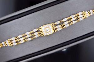 22k 22ct Solid Gold ELEGANT Ladies ZIRCONIA RHODIUM Bracelet Two Tone B673