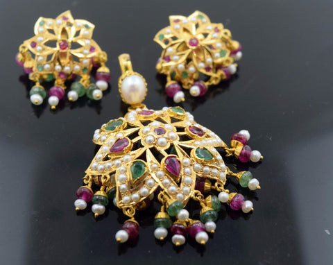 22k Solid Gold ELEGANT PEARL EMERALD Ruby Pendant Set Antique Design S66 | Royal Dubai Jewellers