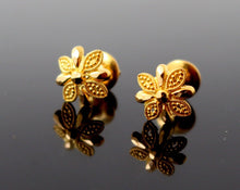 22k 22ct Solid Gold ELEGANT Charm Earring Unique Floral Round Design e5208