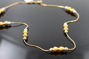 22k 22ct Solid Gold Simple Light Chain Set Modern Beads Design cs103