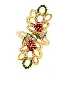 "22k 22ct Solid Gold emerald ruby long Designer ring band ""RESIZABLE"" R1629"