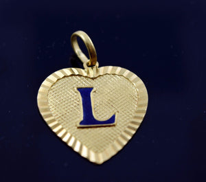22k 22ct Solid Gold Heart Shape Pendent L letter pL5 | Royal Dubai Jewellers