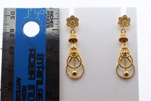 22k 22ct Solid Gold ELEGANT EARRINGS Floral Dangle Tear Drop Design E5101