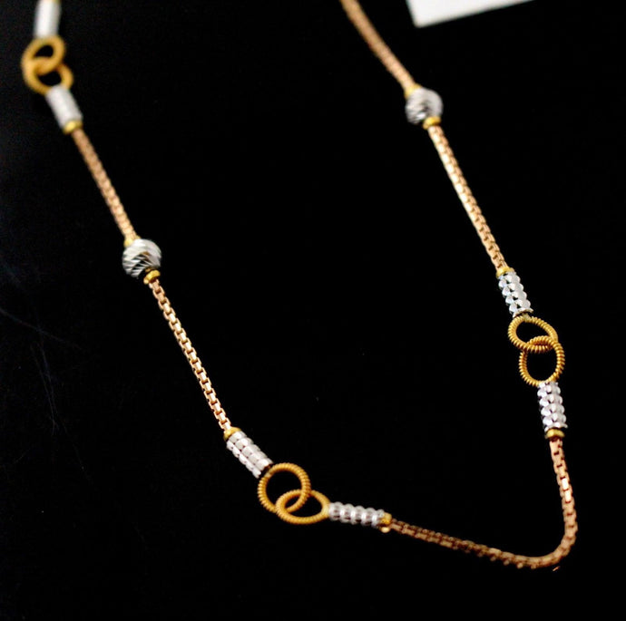 22k 22ct Yellow Solid ROSE GOLD FANCY Necklace RHODIUM Ball CHAIN 18 inch c722