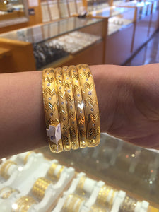 22k Jewelry Solid Gold ELEGANT WOMEN BANGLE BRACELET MODERN DESIGN 6 Pieces b311 | Royal Dubai Jewellers