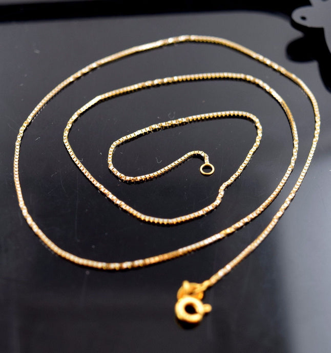 22k Jewelry Yellow Gold Rope Chain Modern Box Two Tone Design Necklace 18