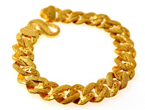 22k 22ct Solid Gold ELEGANT MEN DESIGNER WIDER BROAD BRACELET B872 | Royal Dubai Jewellers