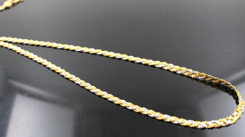 22k Chain Yellow Solid Gold Necklace Two Tone Sand Blast Design 18 inch c726 | Royal Dubai Jewellers
