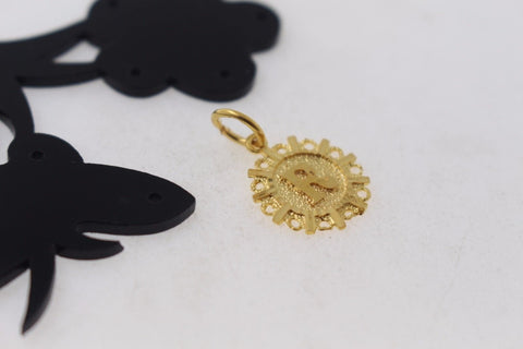 "22k 22ct Solid Gold ""R"" letter Round Charm Pendant p775"