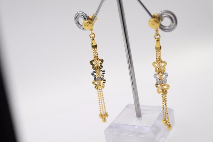 22k 22ct Solid Gold ELEGANT EARRINGS Floral Dangle Design Two Tone E5069