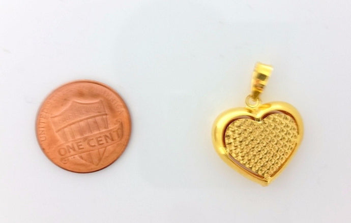 22k Solid Gold Charm Heart shape pendant locket Modern Design p0227