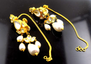 22k Solid Gold ELEGANT LONG EARRING DANGLING Natural Pearl Antique Design E611