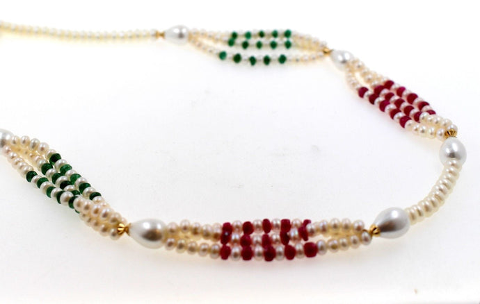 22k Chain Solid Gold Necklace natural ruby ,pearl, emerald 17 inch c902
