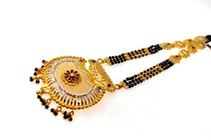 22k Gold Solid Yellow Elegant Chain Mangalsutra Pendant Set Length 30 inch c644 | Royal Dubai Jewellers