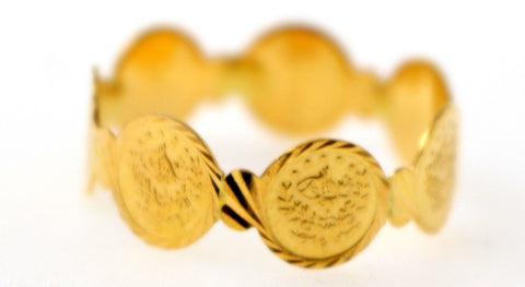 21Karat GORGEOUS SOLID GOLD GINNI COIN RING band R1576 - Royal Dubai Jewellers