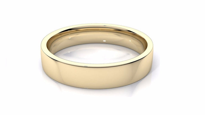 14k Solid Gold 6mm Comfort Fit Wedding Flat Band in 14k Yellow Gold
