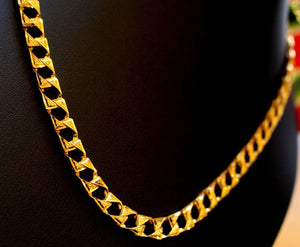 22k Gold Solid Yellow Elegant Chain Simple Cuban Link Design Length 22 inch son | Royal Dubai Jewellers