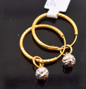 22k Solid Gold Diamond cut Hoop Earring .75 inch e748