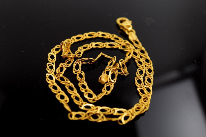 22k Yellow Solid Gold Chain Rope Necklace 4.2mm C195 Figaro Design