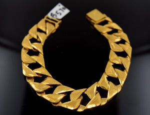 22k Jewelry Solid Gold HEAVY CONCAVE CURB LINK BRACELET SHINNY LENGHT 7.5in B570