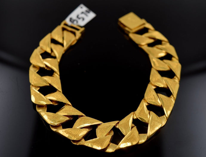 22k Jewelry Solid Gold HEAVY CONCAVE CURB LINK BRACELET SHINNY LENGHT 7.5in B570 | Royal Dubai Jewellers