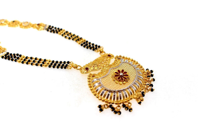 22k Gold Solid Yellow Elegant Chain Mangalsutra Pendant Set Length 30 inch c644