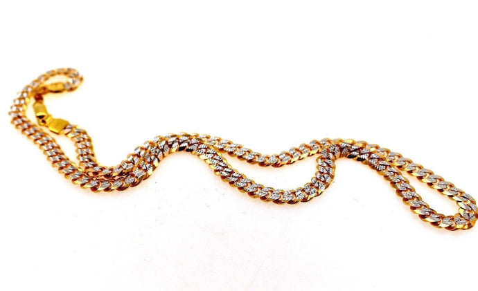 22k 22ct Yellow Solid Gold ELEGANT THICK CURB LINK HEAVY TWO TONE Chain c941 | Royal Dubai Jewellers