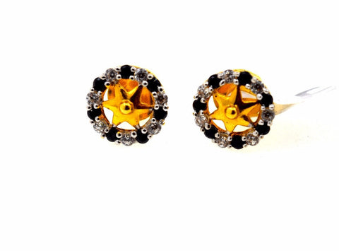 22k Solid Gold ELEGANT STUD ONYX EARRINGS Unique Design E822