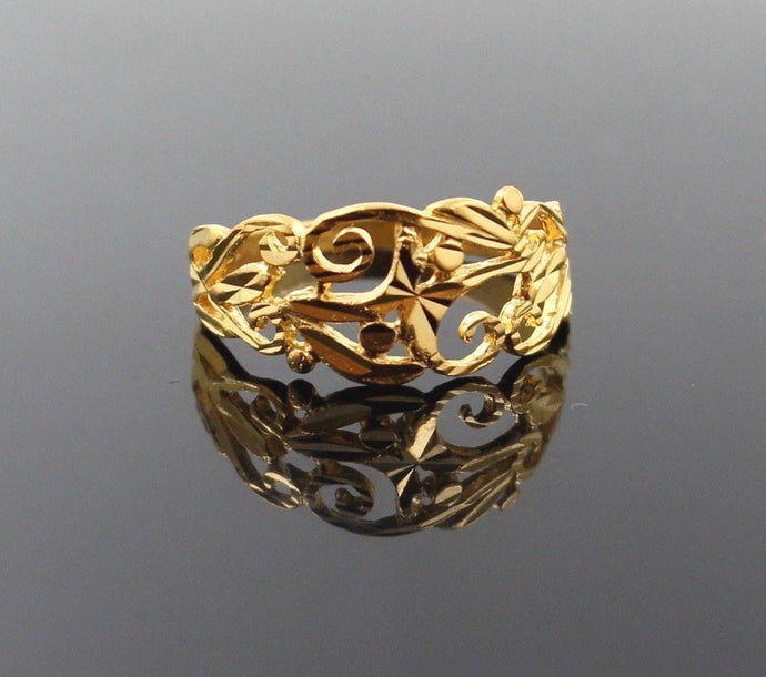 22k 22ct Solid Gold BEAUTIFUL LADIES BAND RING Size 8.0 RESIZABLE R1278 - Royal Dubai Jewellers