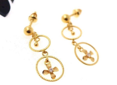 22k 22ct Solid Gold ELEGANT EARRING ZIRCON LONG HANGING Design E5084