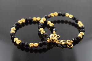 22k Solid Gold ELEGANT ONYX PLAIN BABY CHILDREN BANGLE BRACELET b284