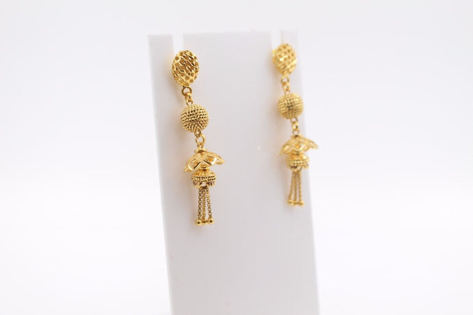 22k 22ct Solid Gold ELEGANT EARRINGS Floral Dangle Design E5092
