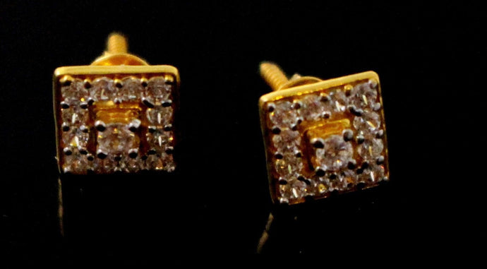 22k 22ct Solid Gold ELEGANT ZIRCONIA SMALL STUD Earring e5838