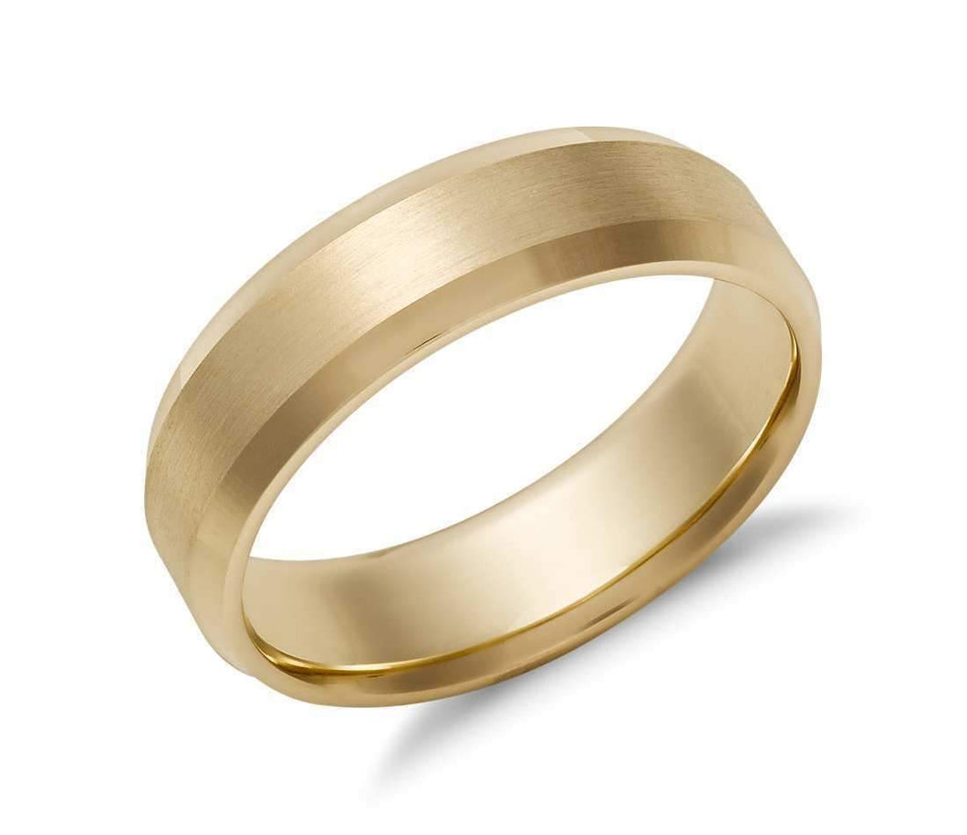 14k Solid Gold Beveled Edge Matte Wedding Ring 6mm Custom Size Avaliable | Royal Dubai Jewellers