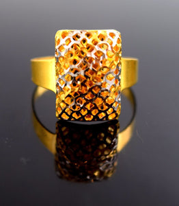 "22k Jewelry Solid Gold ELEGANT Ring Unique Design ""RESIZABLE"" r589a"