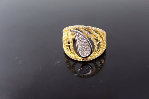 "22k 22ct Solid Gold ELEGANT WOMEN ZIRCONIA Ring SIZE 6.5 ""RESIZABLE"" R1140 