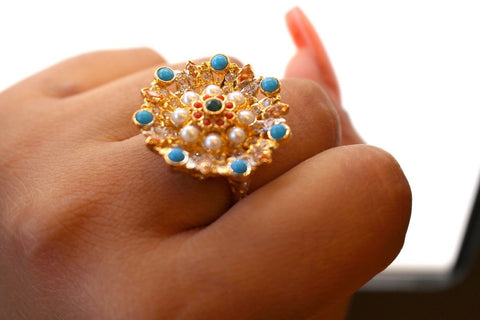 "22k 22ct Solid Gold ELEGANT Antique Ladies Stone Ring SIZE 7.0 ""RESIZABLE"" r1521"