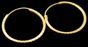 22k 22ct Jewelry Solid Gold ELEGANT ROUND HOOP EARRINGS E5847 | Royal Dubai Jewellers