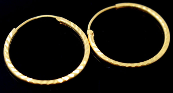 22k 22ct Jewelry Solid Gold ELEGANT ROUND HOOP EARRINGS E5847
