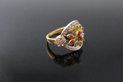 "22k 22ct Solid Gold ELEGANT Antique Ladies Stone Ring SIZE 7.0 ""RESIZABLE"" r1551"