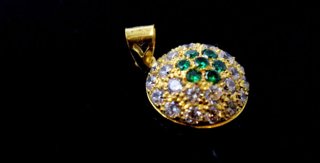 22k 22ct Solid Gold Elegant Modern Design Round Shape Emerald Pendant p1263 | Royal Dubai Jewellers