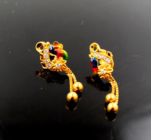 22k 22ct Solid Gold ELEGANT Charm Earring Peacock Design e5162
