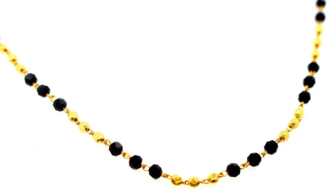 22k Yellow Solid GOLD ELEGANT BLACK BEADS Chain 18 Inch C896 | Royal Dubai Jewellers