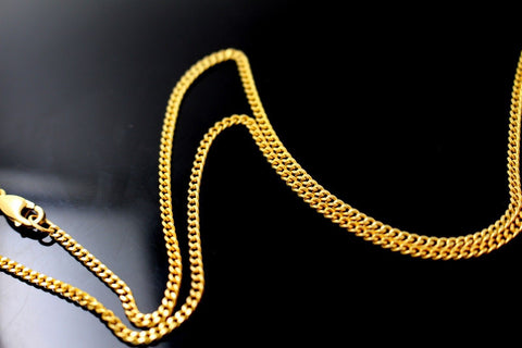 22k Gold Solid Yellow Elegant Chain Simple Curb Design Length 26 inch c633