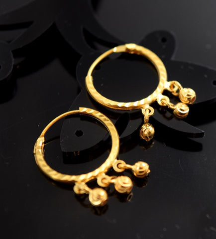 22k Solid Gold ELEGANT HOOP EARRINGS MODERN DESIGN e798