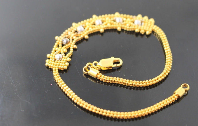 22k 22ct Solid Gold ELEGANT Charm Bracelet Simple Design Length 7.5 Inch B700