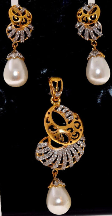 22k 22ct Solid Gold ELEGANT ZIRCONIA PEARL DESIGNER PENDANT SET EARRING s110 | Royal Dubai Jewellers