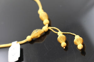 22k 22ct Solid Gold Simple Light Chain Set Modern Beads Design cs114